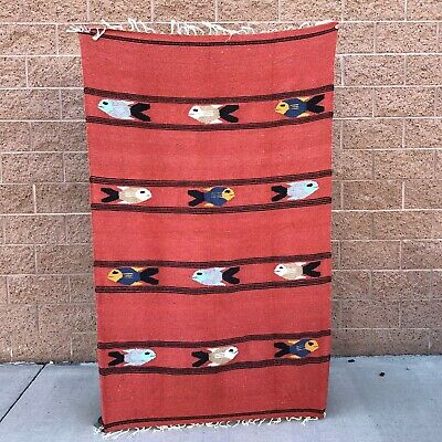 Mexican Yoga Blanket RustFish Design Serape Tapestry Falsa Throw XL Handmade