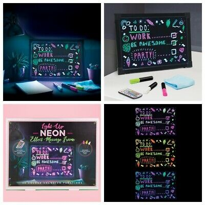 Large Neon Effect Picture Frame LED Writing Pens Light Up Remote Message Board