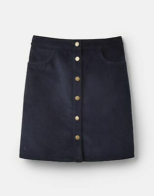 Joules 207523 Cord Button Down Skirt in MARINE NAVY