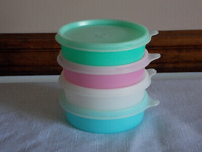 4 Tupperware Little Wonders Bowls with Lids Pastel Sheer