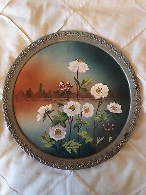 Antique Porcelain Pewter Plate