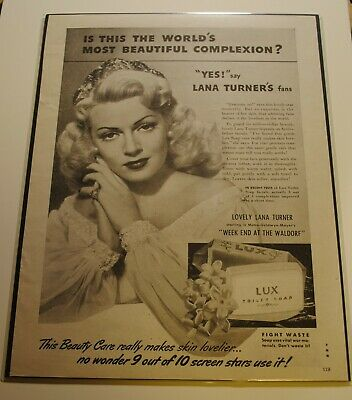 1945 Lana Turner Lux Soap Ad From An Original 1945 Movie Magazine