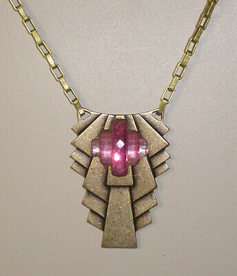 ~CLASSIC VTG 1920s ART DECO Stepped Design  NECKLACE with PRESSED ROSE GLASS!~~