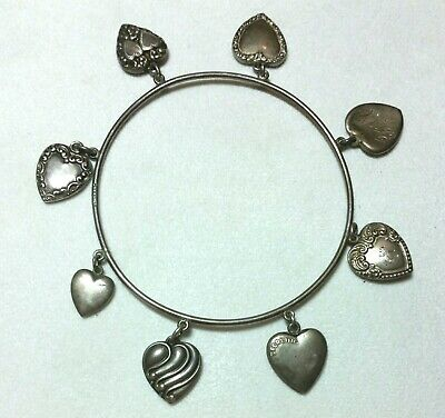 Antique Victorian Sterling Silver Puffy Heart Charm Bracelet