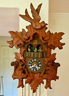 Black Forest Cuckoo Clock:Parts /Repair Carving Excellent CUEDENT Edelweiss Lara