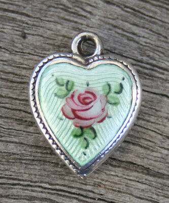 VINTAGE STERLING PUFFY HEART CHARM - Guilloche Pale Green Enamel & Pink Rose