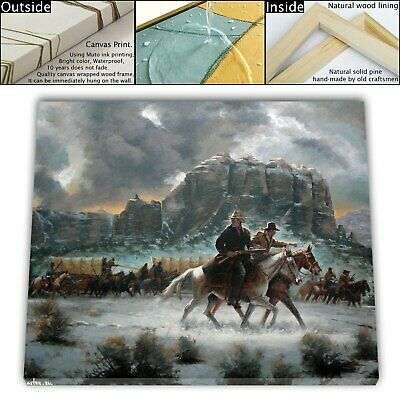 "16""x22""Western cold winter Paintings HD Canvas print Framed Home Decor Wall art"