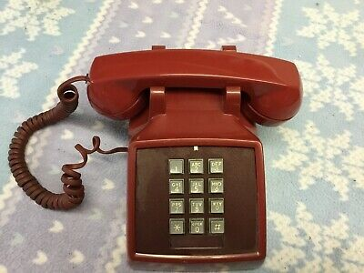 Vintage Red Bell System Western Electric Desk Telephone Phone 2500DM Push Button