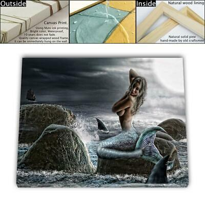 "16""x24"" Mermaid Painting HD Canvas prints Framed Home decor Room Wall art Poster"