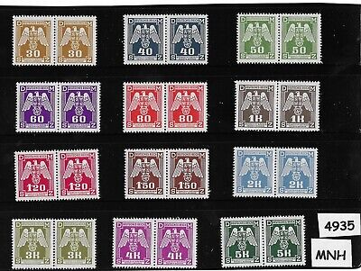 Two (2) Complete MNH WWII Emblem stamp sets 1943 German Occupation / Third Reich
