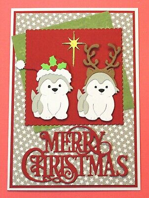 White Merry Christmas Handmade Card DIY Card Making Kit Snow Puppy Dogs