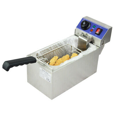 Commercial 2000w Electric Single Tank Deep Fryer Countertop Fried Chicken CE  6L