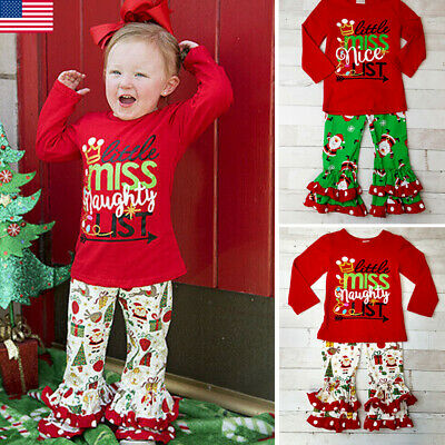 Kids Baby Girls Christmas Cotton Outfits Long Sleeve Tops+Long Pants Clothes
