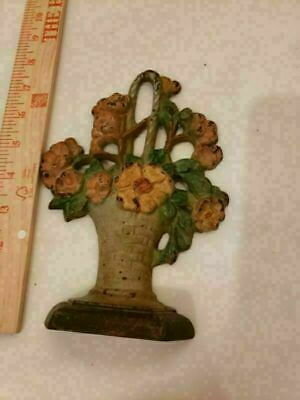 ANTIQUE VINTAGE cast iron door stop, Hubley flower basket #329 GOLD TRIM 7.5""