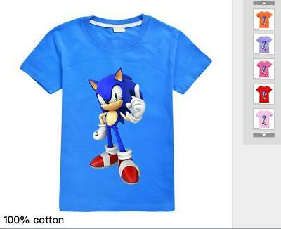 Sonic The Hedgehog Game Fashion Kids Casual Loose Cotton T-Shirt Short Top New