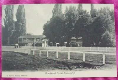 1900's VINTAGE POSTCARD - GRANDSTAND TUMUT RACECOURSE Black & White Used Card