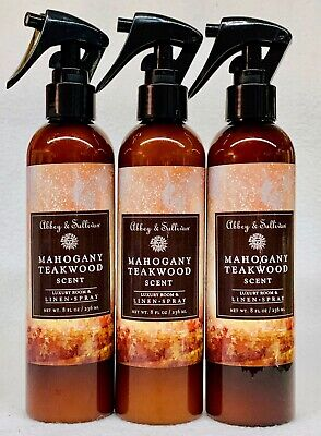 3 Abbey & Sullivan MAHOGANY TEAKWOOD Luxury Room & Linen Spray 8 fl oz
