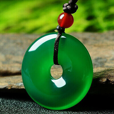 Beautiful Natural Icy Translucent Green Jade Jadeite Donut Pendant Necklace