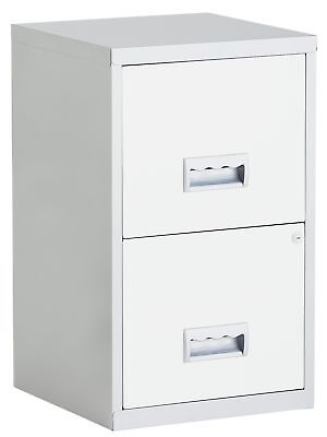 2 Drawer Metal Filing Cabinet - Silver and White.