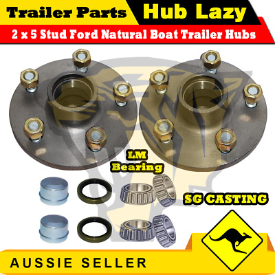 Trailer Hub Ford 5 Stud pattern lazy hub with LM Bearings Kit complete / Pair