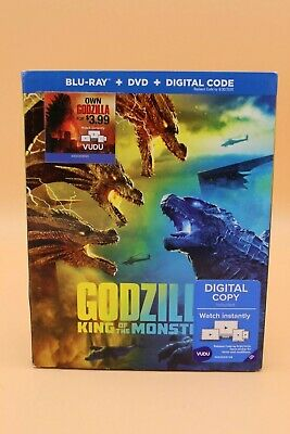 NEW Godzilla: King of Monsters (Blu-ray, DVD, Digital) Slipcover! FREE SHIPPING