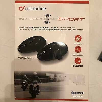 Coppia Interphone Sport Interfono per Casco Moto con Bluetooth - Nero