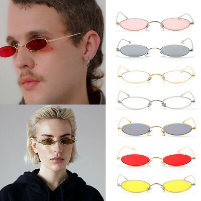 Cute Small Oval Sunglasses Men Women Retro Metal Frame Vintage Round