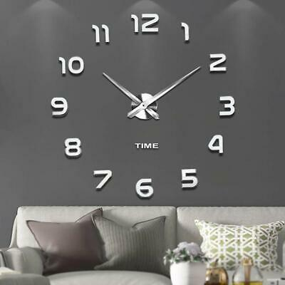 Modern DIY 3D Large Number Mirror Art Clock Wall Sticker Big Watch Home Decor UK