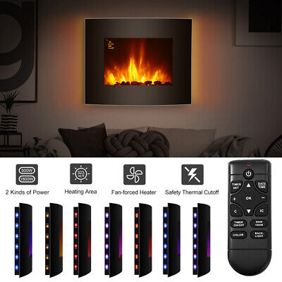 1.8KW Electric Fireplace Heater 7 Color LED Curved 3D Flame Effect Wall Mounted