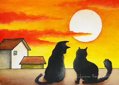 Original ACEO watercolor full moon night & black cats CITYSCAPE FINE PAINTING