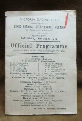 1945 Official Programme Victoria Racing Club Grand National Steeplechase Meeting
