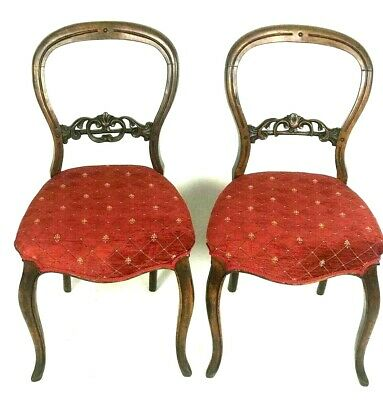 A Pair of Antique Victorian Mahogany Balloon Back Chairs [5599]