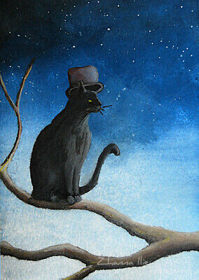 Original ACEO watercolor fine ART illustrative art black cat on branch