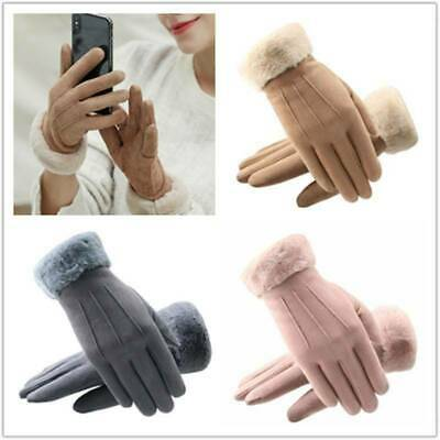 Windproof  Winter Warm Thick Soft Suede Touch Screen Fleece Gloves For Women