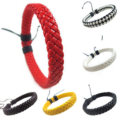 BRAIDED FAUX LEATHER BRACELET, 10 Colours, Adjustable, SURFER TRIBAL Men Women