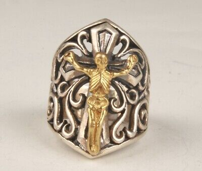 China 925 Silver Gold Plated Hand Carving Ring Skeleton Exclusive Gift  Old