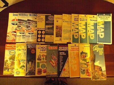 VTG. LOT OF 20 ROAD MAPS/ADVERTISING~GULF, MOBILE, STANDARD, RAND McNALLY, ETC.