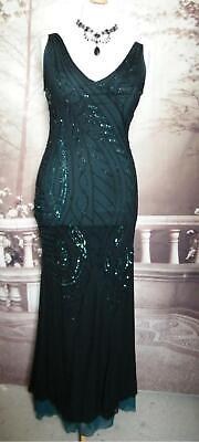 Phase Eight Ballgown/Dress size 14 Black Fishtail Tapework Gatsby Downton 1920s