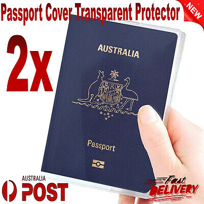 2x Passport Cover Transparent Protector Travel Clear Holder Organiser Wallet AU