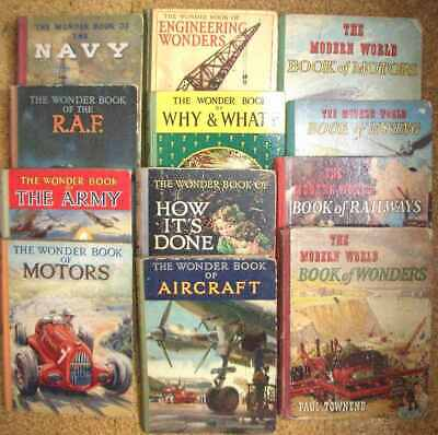 Joblot 14 vintage 1920s onwards non-fiction childrens Wonder Book & Modern World