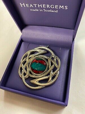 Heathergems Red Celtic Knot Brooch Pewter Made In Scotland