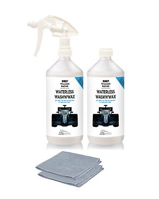 Rokit Williams Waterless wash and wax car cleaning set of 2 with 2 microfibres