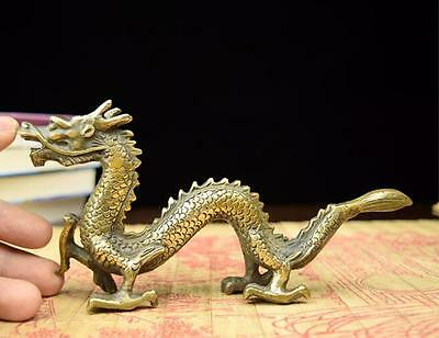 old Chinese Brass handwork carved Dragon statue