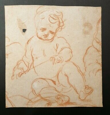 18th.Century Georgian Old Master Red Chalk Portrait Drawing Boy 1700s British