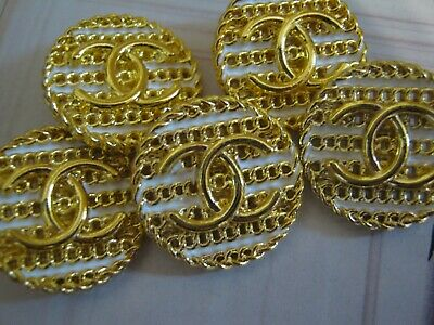 Chanel cc buttons GOLD WHITE   20mm lot of 5 good condition