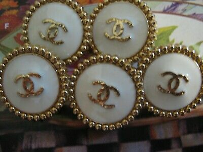 Chanel QUILTED cc buttons GOLD WHITE   18mm lot of 5 good condition