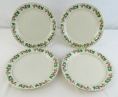 """Gibson Everyday Christmas """"Holly & Berry"""" Set Of 4 Luncheon Plates"""