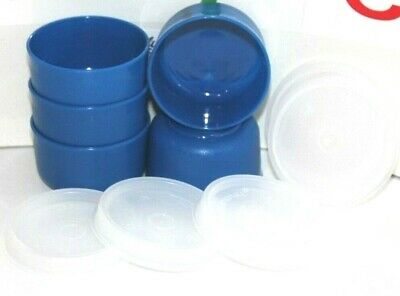 Tupperware Smidgets Set of 5 Airtight 1 oz. Travel Containers Blue & Sheer 1463