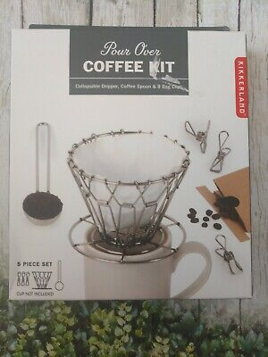 Kikkerland Pour Over Coffee Kit 5 Piece Set Dripper Coffee Spoon & 3 Bag Clips