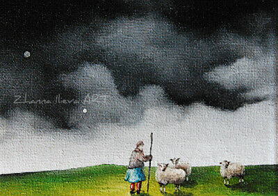 Original ACEO fine ART oil painting storm clouds old woman & sheeps miniature